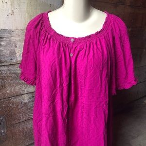 Terra & Sky Magenta Size 3X Blouse with Buttons
